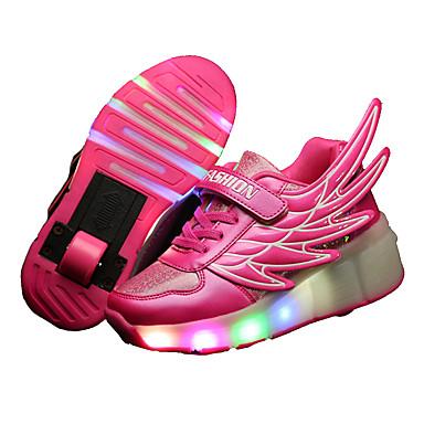 Gutter-Lær-Lav hæl-Komfort Light Up Sko-Treningssko-Friluft Fritid Sport-Svart Blå Rosa