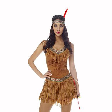 amerikansk indianer Dame Jul Halloween Karneval Oktoberfest Nytt År Barnas Dag Festival / høytid Halloween-kostymer Gul Trykt mønster