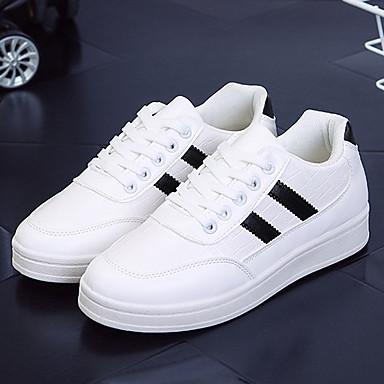 Dame-KunstlærKomfort-Sneakers-Fritid-Svart / Hvit
