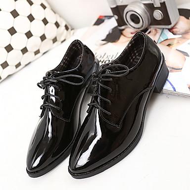 女性用 靴 レザーレット 秋 コンフォートシューズ オックスフォードシューズ のために カジュアル ブラック バーガンディー
