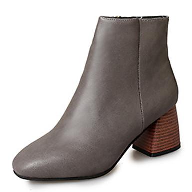 Dame-PU-Tykk hæl-Komfort-Støvler-Friluft Formell Fritid-Svart Brun Grå