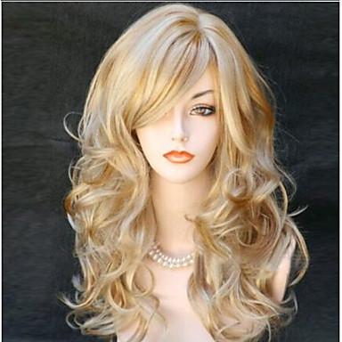 Syntetiske parykker Krop Bølge Med lugg tetthet Lokkløs Dame Blond Naturlig parykk Lang Syntetisk hår