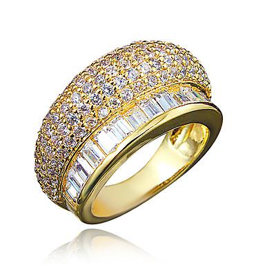 Naisten Sormus Cubic Zirkonia Gold Plated 18K kulta Korut Häät Party Päivittäin Kausaliteetti