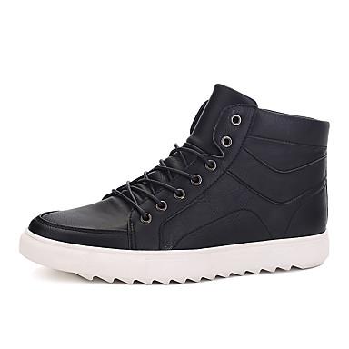 Miehet kengät PU Kevät Syksy Talvi Comfort Muotisaappaat Bootsit Käyttötarkoitus Kausaliteetti Musta Ruskea