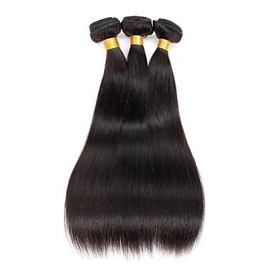 3 paquetes Extensiones de Pelo Natural Cabello Hindú Recto Pelo Natural Tejidos Humanos Cabello 8-28 pulgada El cabello humano teje Negro Natural / 8A / Corte Recto