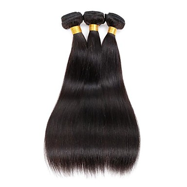3 pacotes Cabelo Indiano Liso Cabelo Humano Cabelo Humano Ondulado 8-28 polegada Tramas de cabelo humano Extensões de cabelo humano / Reto