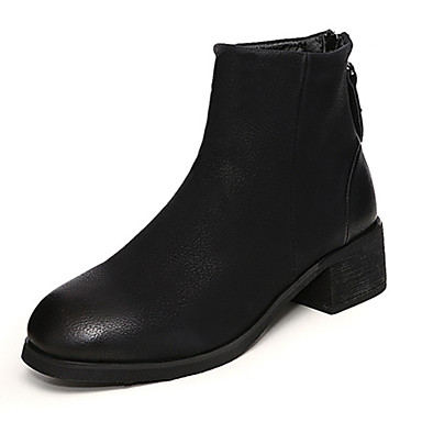 Dame-Semsket lær-Tykk hæl-Komfort-Støvler-Friluft Formell Fritid-Svart Grønn