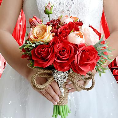 ウェディングブーケ ラウンド型 バラ ブーケ 結婚式 パーティー ・夜 ポリエステル サテン タフタ スパンデックス ドライフラワー ラインストーン 9.84inch(約25cm)