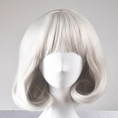 Pelucas sintéticas Recto Corte Bob Pelo sintético Peluca Mujer Corta Sin Tapa