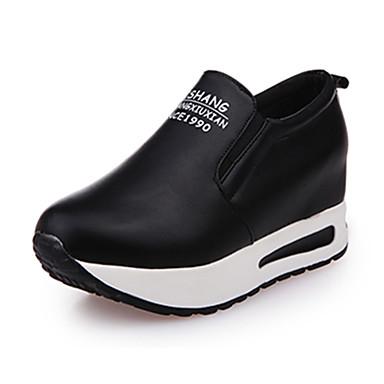 Dame-PU-Flat hæl-Komfort-Treningssko-Fritid-Svart Hvit