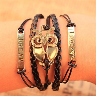 abordables Bracelet-Chaînes Bracelets Bracelets Plusieurs Tours Bracelets Vintage Cuir Chouette Amitié Pas cher dames Inspiration Bracelet Bijoux pour Regalos de Navidad Soirée Quotidien / Bracelets en cuir