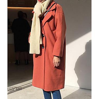 女性 カジュアル/普段着 秋 ソリッド コート,ストリートファッション ブラック / オレンジ コットン 長袖 ミディアム