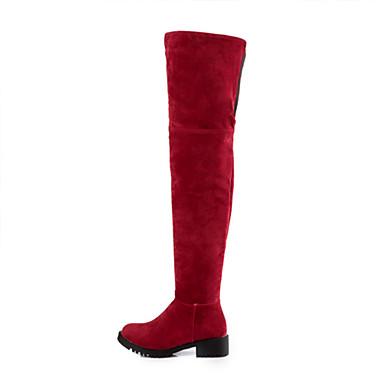 Dame-Semsket lær-Tykk hæl-Komfort-Støvler-Fritid-Svart Grønn Rød Kaki