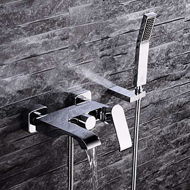 Grifo de bañera - Moderno Cromo Colocado en la Pared Válvula Cerámica