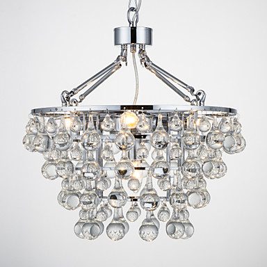 QINGMING® 5-luz Lámparas Araña Luz Ambiente Cromo Metal Cristal 110-120V / 220-240V Bombilla no incluida / E12 / E14