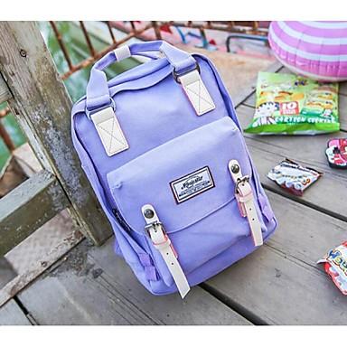 女性用 バッグ キャンバス スクールバッグ ジッパー パープル / ピンク / ライトグリーン