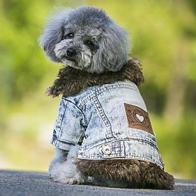 犬 コート / デニムジャケット 犬用ウェア ジーンズ ブラック / ブルー フリース / デニム コスチューム ペット用 カウボーイ / 保温 / ファッション