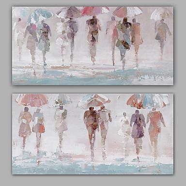 Maalattu Abstrakti Ihmiset Horizontal,Klassinen Moderni Kanvas Hang-Painted öljymaalaus Kodinsisustus 2 paneeli