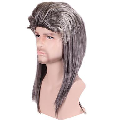 Synteettiset hiukset Peruukit Kihara Otsatukalla Suojuksettomat Cosplay-peruukki Harmaa