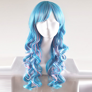 Perucas sintéticas Ondulado Natural Cabelo Sintético Azul Peruca Mulheres Longo / Muito longo Peruca Natural / Peruca de Halloween /
