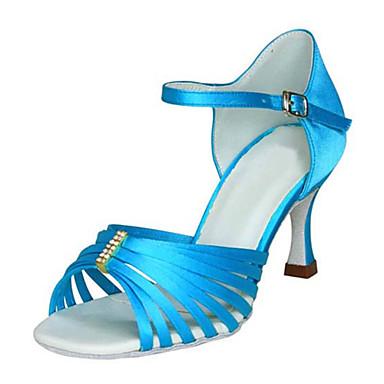 Mulheres Sapatos de Dança Latina / Sapatos de Jazz / Sapatos de Salsa Cetim Sandália / Salto Pedrarias / Presilha Salto Personalizado