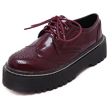 女性用 靴 PUレザー 春 / 秋 コンフォートシューズ オックスフォードシューズ プラットフォーム 編み上げ ブラック / バーガンディー