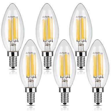 KWB 6本 6W 560 lm E12 フィラメントタイプLED電球 C35 6 LEDの COB 調光可能 温白色 AC 110-130 V
