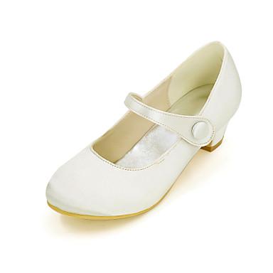 baratos Sapatos de Criança-Para Meninas Cetim Saltos Little Kids (4-7 anos) Azul / Champanhe / Ivory Primavera Verão / Casamento / Festas & Noite / Casamento / TR