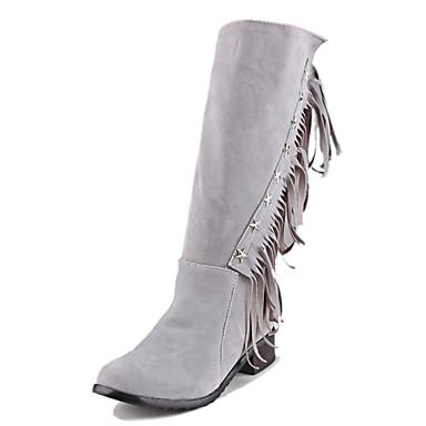 Dame-Kunstlær-Lav hælStøvler-Formell Fritid-Svart Grå Gul Rød