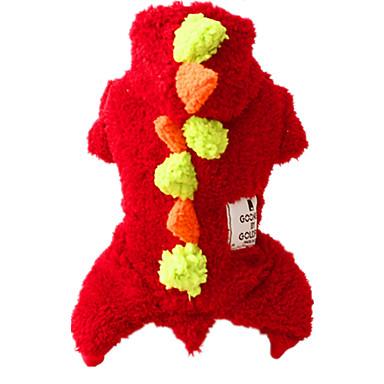 犬 ジャンプスーツ 犬用ウェア キュート カジュアル/普段着 保温 純色 レッド