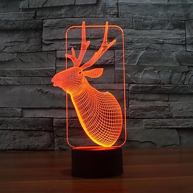 1 kpl 3D-yövalo Tunnistin Himmennettävissä Vedenkestävä Vaihtuva väri LED Moderni/nykyaikainen