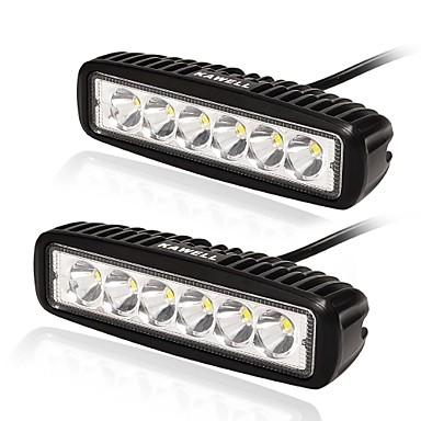 kawell 18ワットはバギージープボートSUV車車バギー6.2 30度は道路防水LED作業スポットライトバー黒色を消灯ライトバーを導いた(2パック)