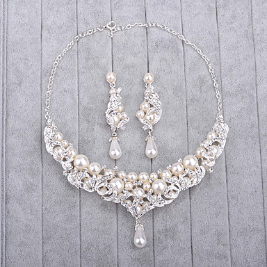 Mulheres Imitação de Pérola / Gema Conjunto de jóias - Incluir Prata Para Casamento