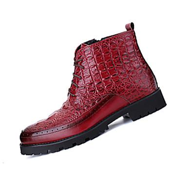 Bootsit-Tasapohja-Miesten-PU-Musta Punainen Tummanpunainen-Rento-Comfort