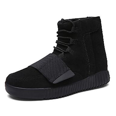 Bootsit-Tasapohja-Miesten-PU-Musta Punainen Harmaa-Rento-Comfort