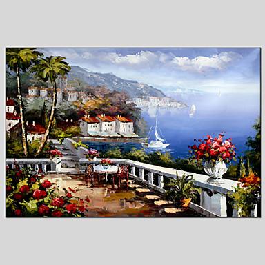Maalattu Maisema Vaakatasoinen panoraama, Klassinen Välimeren Kangas Hang-Painted öljymaalaus Kodinsisustus 1 paneeli