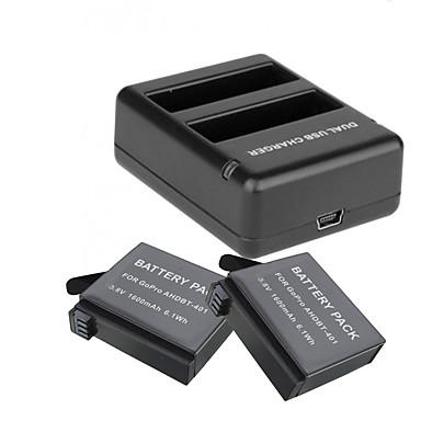 Battery Charger バッテリー ために アクションカメラ Gopro 4 Session Gopro 4 Silver ユニバーサル トラベル ABS