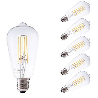 GMY® 6kpl 450lm E26 / E27 LED-hehkulamput ST58 4 LED-helmet COB Himmennettävissä Koristeltu Lämmin valkoinen 220-240V