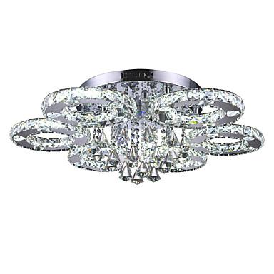 Flush Mount Ambient Light Chrome Metal Crystal, LED 110-120V / 220-240V White LED Light Source Included / LED Integrated