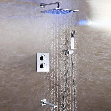 Rubinetto Doccia - Moderno Cromo Montaggio Su Parete Valvola In Ceramica Bath Shower Mixer Taps - Ottone - Due Maniglie Quattro Fori #05460214