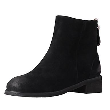 Dame-Semsket lær-Tykk hæl-Komfort-Støvler-Friluft Formell Fritid-Svart