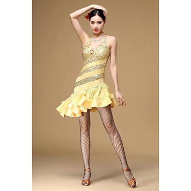 Baile Latino Vestidos Mujer Rendimiento Poliéster Lentejuela Sin Mangas Cintura Alta Vestido