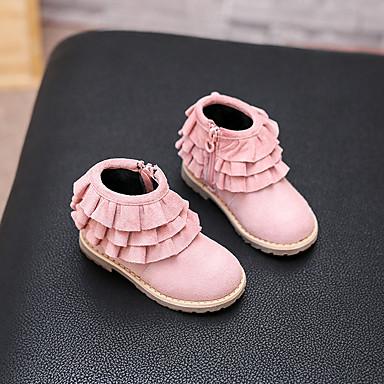 女の子-カジュアル-スエードコンフォートシューズ-ブーツ-ブラック ピンク