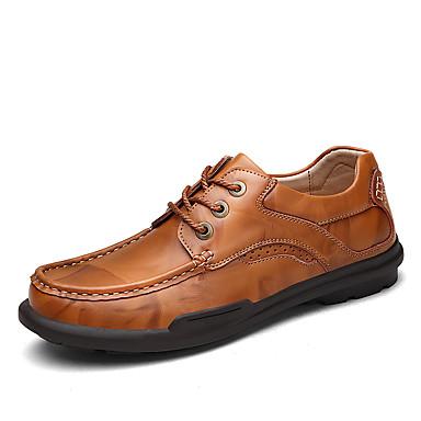 Homens sapatos Pele Napa Primavera / Verão / Outono Conforto Oxfords Preto / Castanho Claro / Festas & Noite / Sapatos de couro