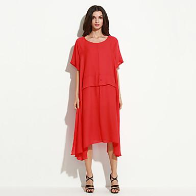Mulheres Casual balanço Vestido Sólido Médio