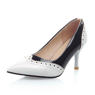 Damen Schuhe Kunstleder Frühling Sommer Herbst High Heels Stöckelabsatz Spitze Zehe für Normal Kleid Weiß Schwarz Rot