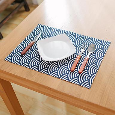 方形 フラワー パターン柄 航海 プレイスマット , コットンブレンド 材料 ホテルのダイニングテーブル 表Dceoration