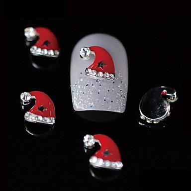 10st schoonheid xmas rode kerstmuts 3d legering nail design diy nail art decoratie