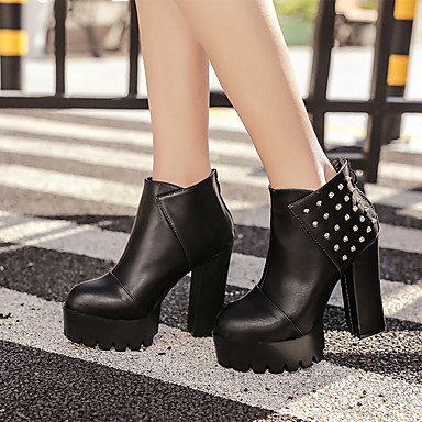 Naiset Bootsit Comfort PU Kevät Kausaliteetti Comfort Musta 3-3,75in