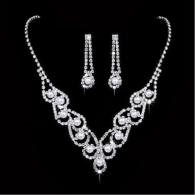 Mulheres Conjunto de jóias - Imitação de Pérola, Prata Chapeada Incluir Prata Para Casamento Festa